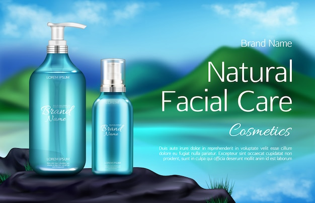 Bouteille de cosmétiques sur fond de paysage de montagne Vecteur gratuit