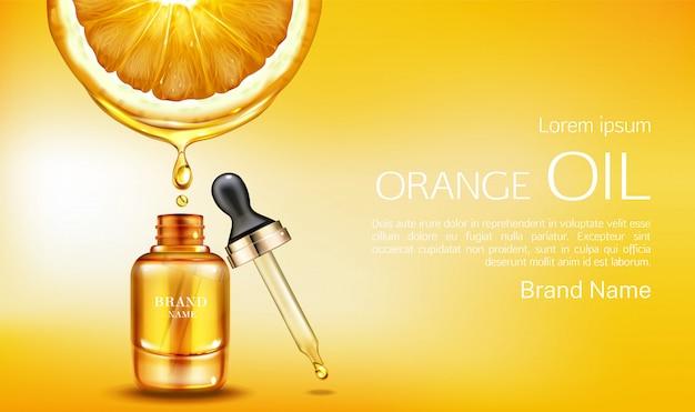 Bouteille de cosmétiques huile orange avec bannière pipette Vecteur gratuit