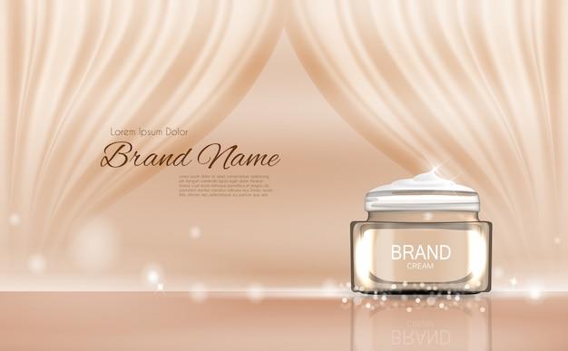 Bouteille de crème pour le visage tube 3d illustration réaliste Vecteur Premium