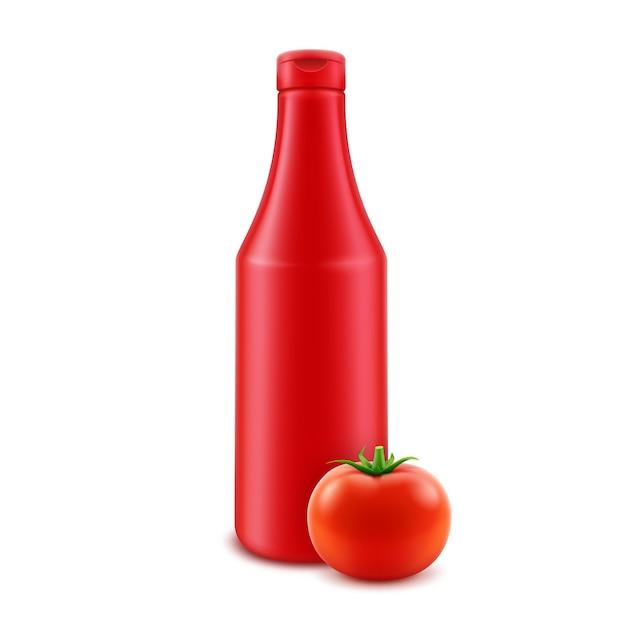Bouteille De Ketchup Aux Tomates Rouges En Plastique Vierge Vecteur Premium