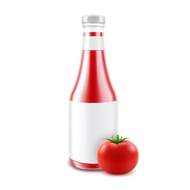 Bouteille De Ketchup De Tomate Rouge Brillant En Verre Blanc Pour La Marque Vecteur Premium