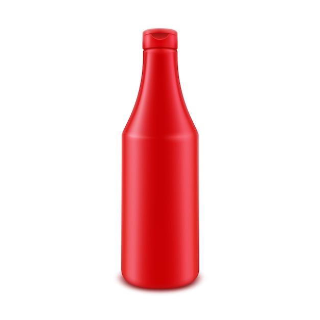 Bouteille De Ketchup De Tomate Rouge En Plastique Vierge Pour L'image De Marque Sans étiquette Isolé Sur Fond Blanc Vecteur Premium