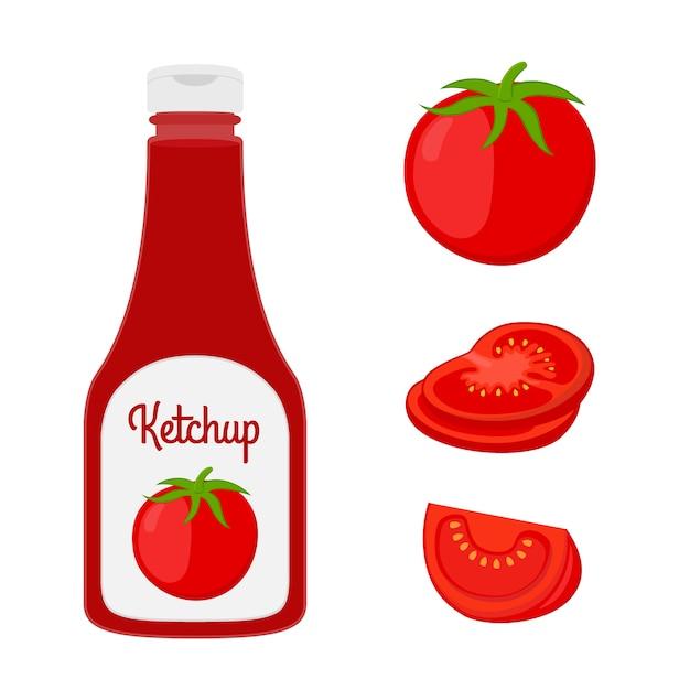 Bouteille de ketchup avec tranches de tomate fraîche. Vecteur Premium