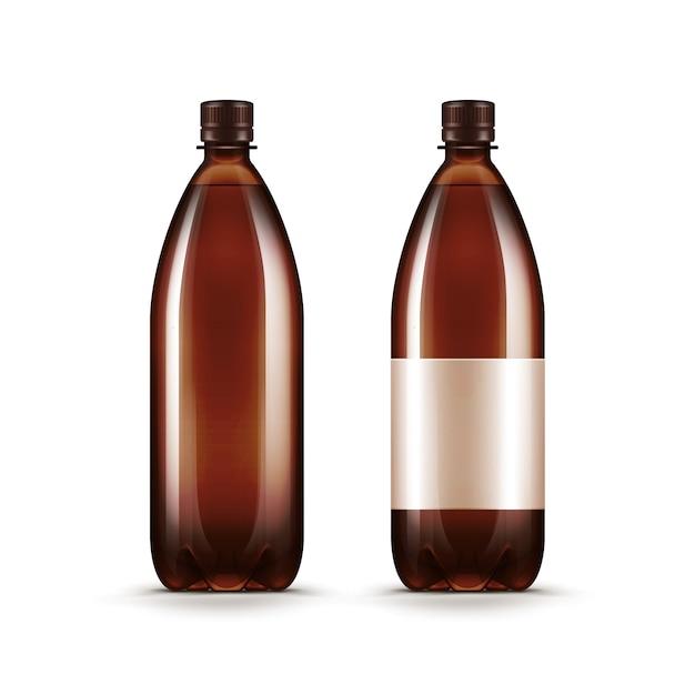 Bouteille De Kvass De Bière En Plastique Brun Blanc Vierge Vecteur Premium