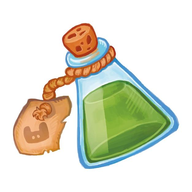 Bouteille magique avec l'icône de la potion verte. élixir de bande dessinée illustration sorcellerie Vecteur Premium