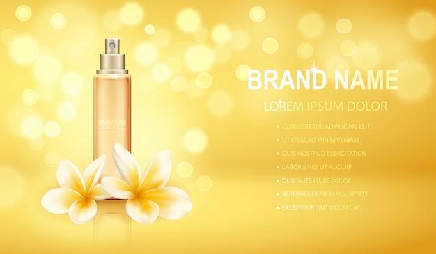 Bouteille De Parfum Réaliste Jaune Isolé Sur Le Fond Des Effets Pétillants Avec Des Fleurs De Plumeria. Vecteur Premium