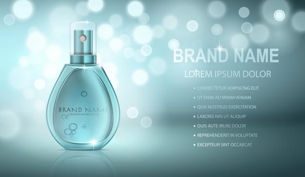 Bouteille de parfum réaliste turquoise isolé sur fond d'effets pétillants. modèle de texte Vecteur Premium