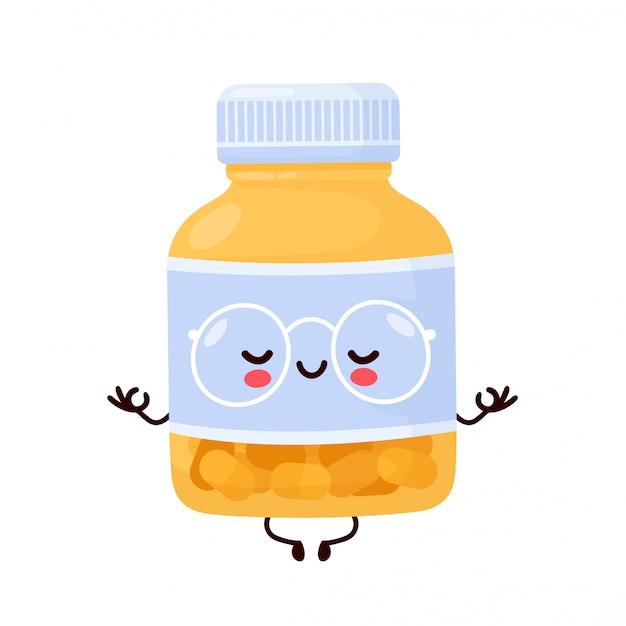 Bouteille De Pilule Drôle Heureux Mignon Médite. Conception D'icône Illustration De Personnage De Dessin Animé. Vecteur Premium