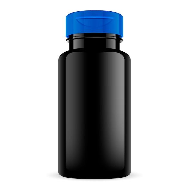 Bouteille de pilule noire avec bouchon bleu. pot à tablette rond. Vecteur Premium