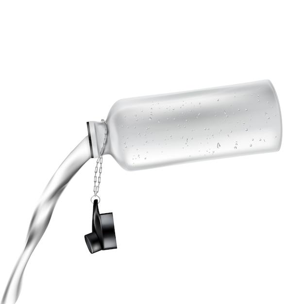 Bouteille en plastique blanche avec couvercle ouvert et avec de l'eau douce déversée, isolée sur fond. Vecteur gratuit