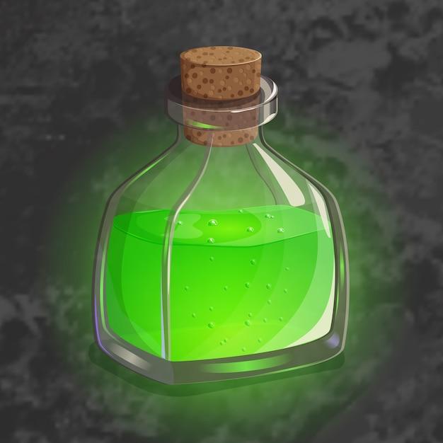 Bouteille de potion verte. icône de jeu de l'élixir magique. Vecteur Premium