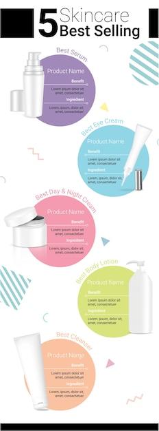 Bouteille de produit de beauté réaliste skincare maquette pour la publicité avec pastel Vecteur Premium
