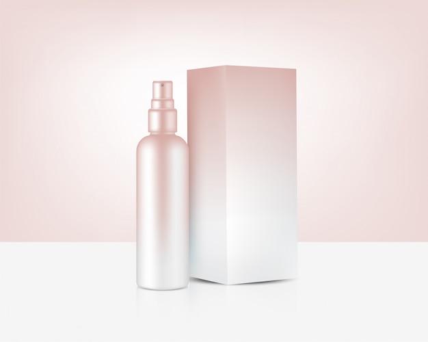 Bouteille de pulvérisation maquette cosmétique réaliste d'or rose et boîte pour skincare produit background illustration Vecteur Premium