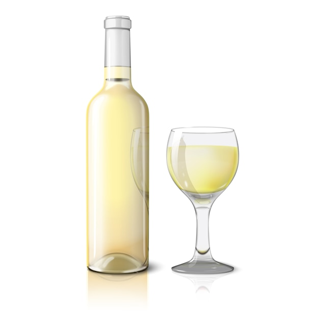 Bouteille Réaliste Blanche Vierge Pour Vin Blanc Avec Verre De Vin Vecteur Premium