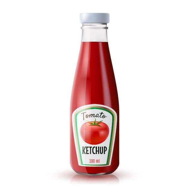 Bouteille réaliste de ketchup Vecteur gratuit
