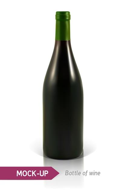 Bouteille Réaliste De Vin Blanc Sur Fond Blanc Avec Reflet Et Ombre. Modèle D'étiquette De Vin. Vecteur Premium