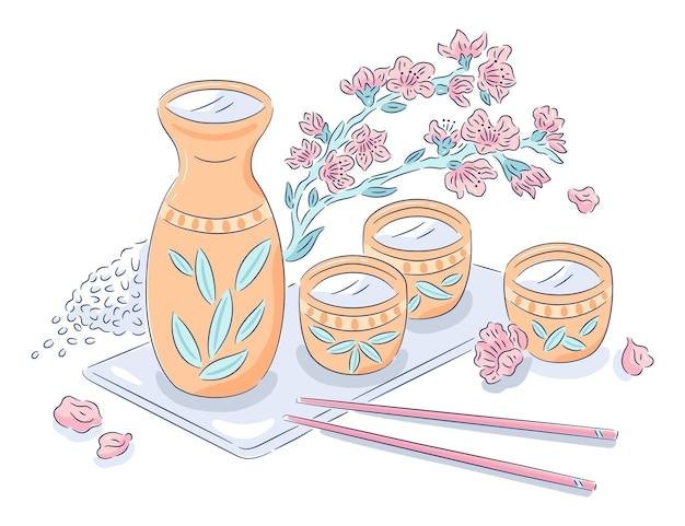 Bouteille De Saké Avec Tasses Vecteur gratuit