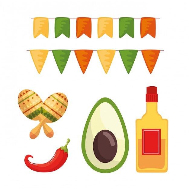 Bouteille De Tequila Mexicaine Avocat Piment Et Maracas Vecteur Premium