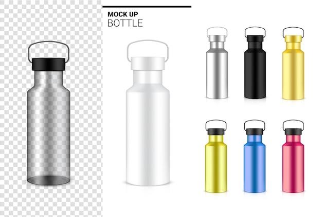 Bouteille Transparente 3d Shaker En Plastique Réaliste Pour L'eau Et La Boisson. Conception De Concept De Vélo Et De Sport. Vecteur Premium