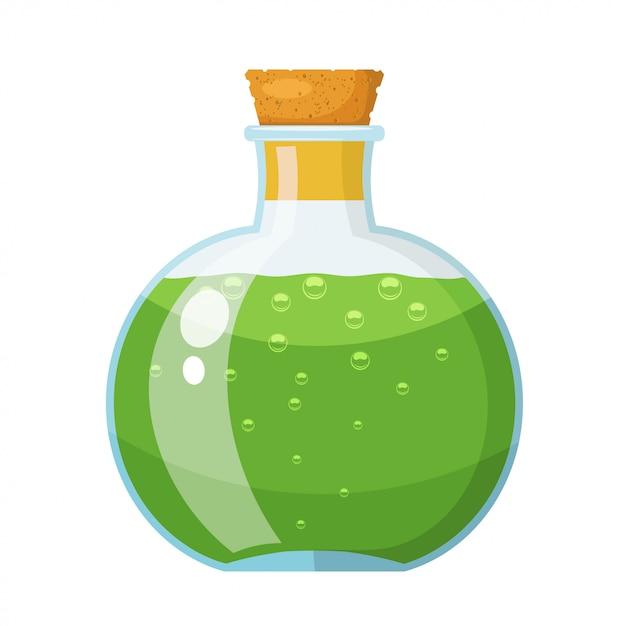 Bouteille en verre avec bouchon en liège avec un liquide vert. la potion dans une fiole. style de bande dessinée. illustration vectorielle stock Vecteur Premium