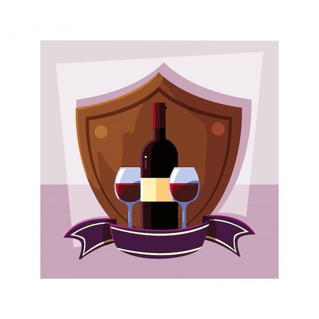 Bouteille Et Verre De Vin En Bouclier Avec Ruban Vecteur Premium