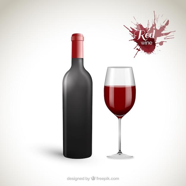 Bouteille et verre à vin de vin rouge Vecteur gratuit