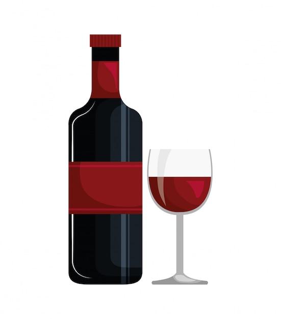 Bouteille De Vin Et Coupe Icône Design Isolé | Vecteur Premium
