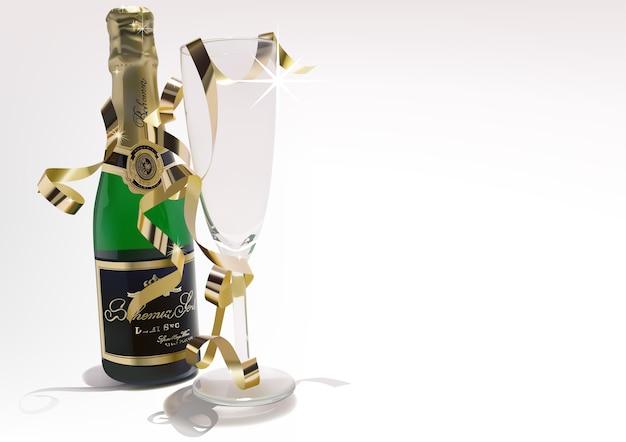 Bouteille de vin et verre avec des confettis dorés Vecteur Premium