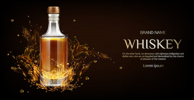 Bouteille de whisky sur dark Vecteur gratuit
