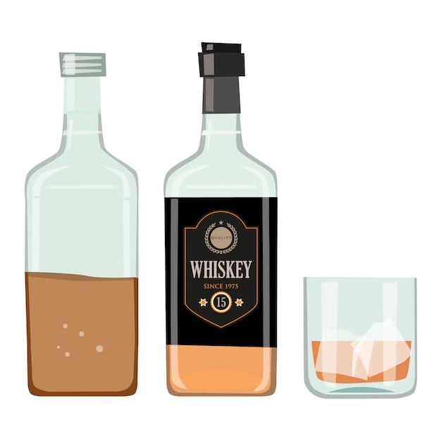 Bouteille De Whisky Avec Verre à Boire Vecteur Premium
