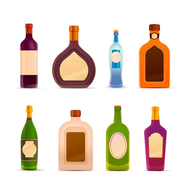 Bouteilles d'alcool sur blanc Vecteur Premium