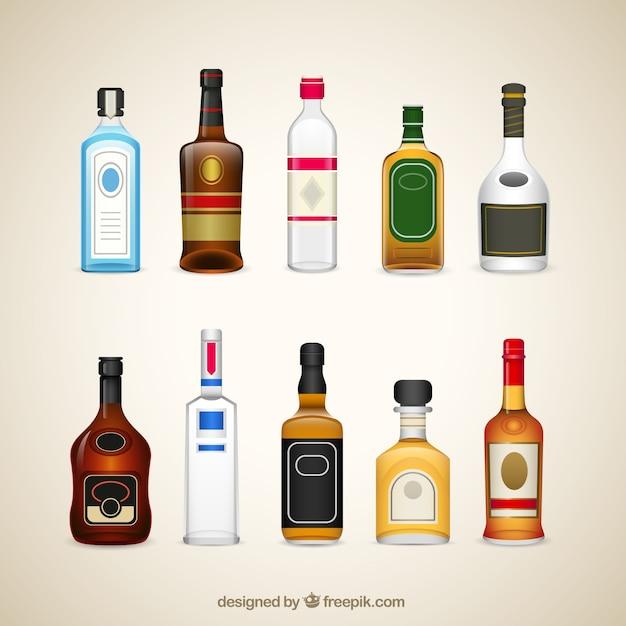 Bouteilles de boissons d'alcool Vecteur gratuit