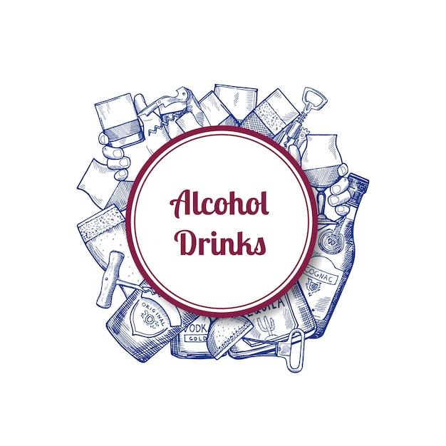 Bouteilles de boissons alcoolisées dessinées à la main de vecteur et de lunettes sous cercle avec place pour l'illustration de texte Vecteur Premium