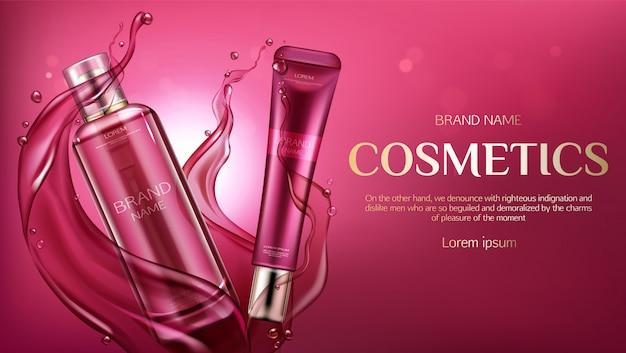 Bouteilles cosmétiques, bannière de produits de soins de la peau beauté Vecteur gratuit