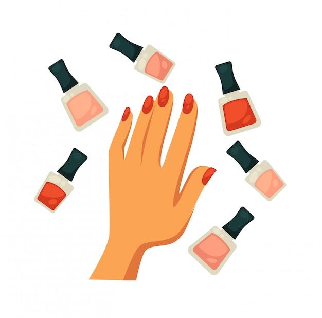 Bouteilles de couleurs rouges nues et classiques avec une main féminine Vecteur Premium