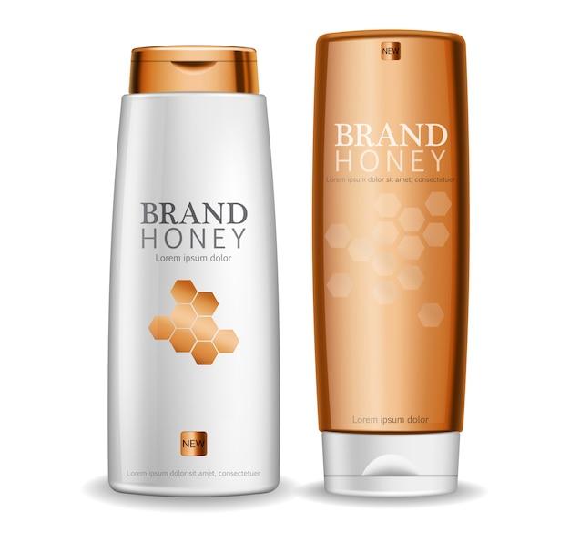 Bouteilles de crème de miel Vecteur Premium
