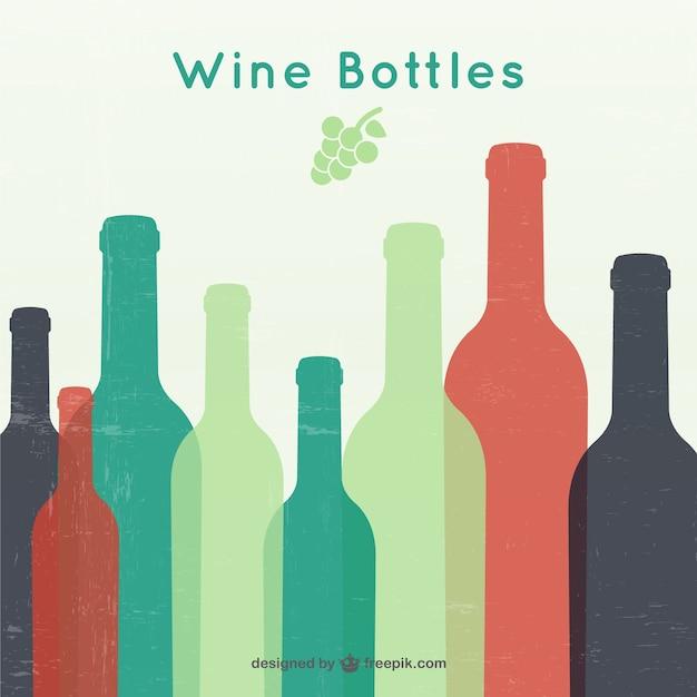 Bouteilles de vin silhouettes Vecteur gratuit