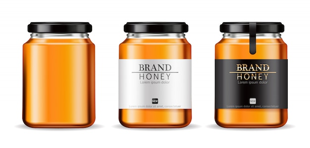 Bouteilles de miel Vecteur Premium