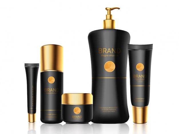 Bouteilles Noires élégantes Avec Des Bouchons En Or Réalistes, Cosmétiques, Parfum Vecteur Premium