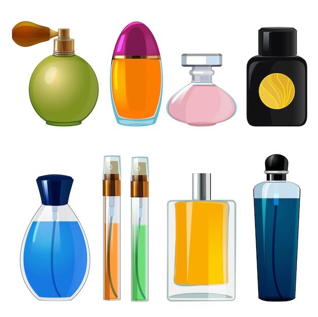 Bouteilles De Parfums. Divers Flacons Et Flacons En Verre Pour Parfum Femme Vecteur Premium