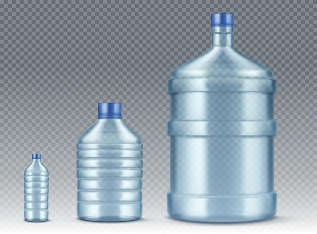 Bouteilles Plastik, Petites Et Grandes Pour Une Eau Réaliste Vecteur gratuit