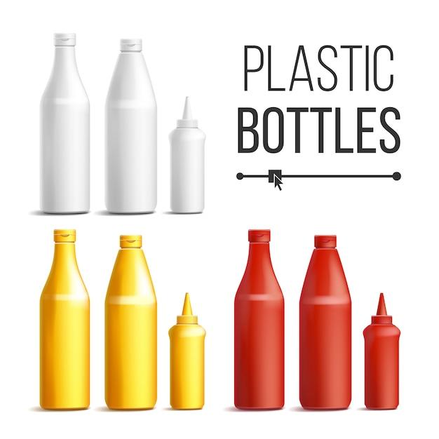 Bouteilles En Plastique Pour Les Sauces Vecteur Premium