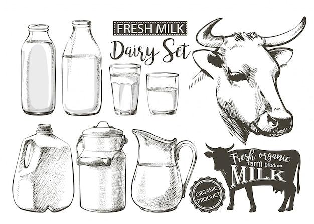 Bouteilles pot de lait Vecteur Premium