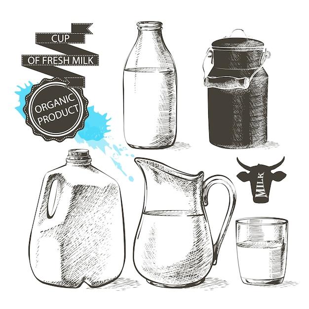 Les bouteilles et les pots gallon avec des produits de lait frais peuvent conteneur pour le lait isolé sur fond blanc Vecteur Premium