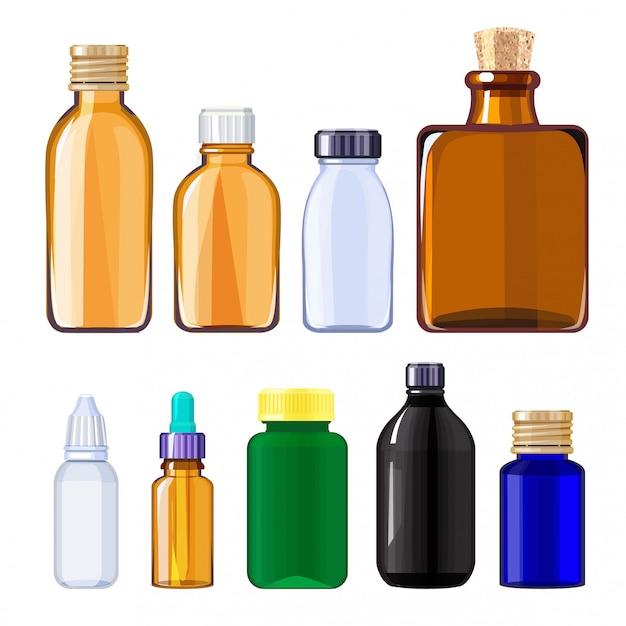 Bouteilles pour médicaments et pilules. flacons médicaux pour médicaments liquides Vecteur Premium