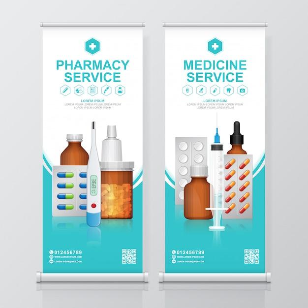 Bouteilles de soins de santé et médicaux mis médecine roll up, modèle de voyageur debout pharmacie Vecteur Premium