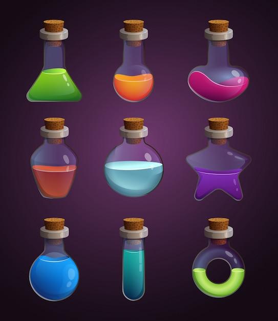 Bouteilles en verre avec divers liquides. images en style cartoon Vecteur Premium