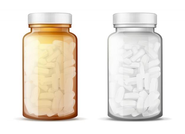Bouteilles En Verre Avec Des Pilules Réalistes Vecteur gratuit