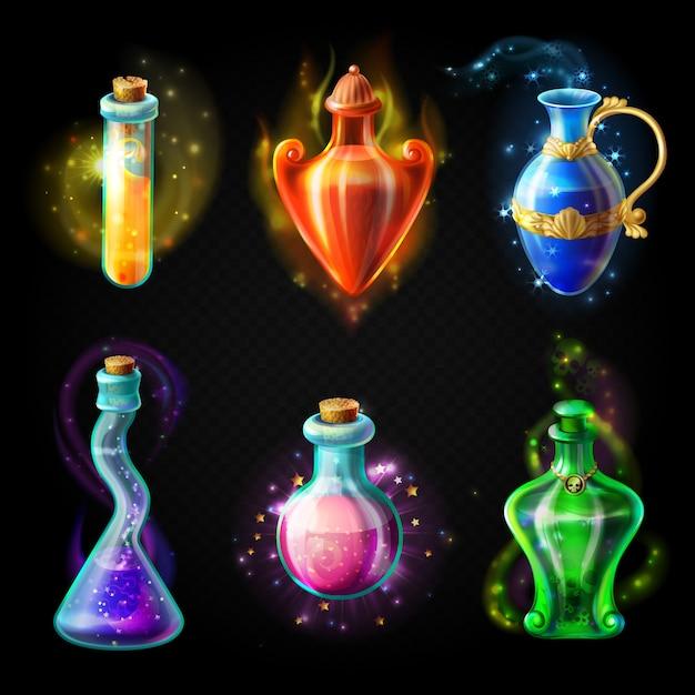 Bouteilles en verre avec une potion magique Vecteur Premium