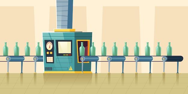 Bouteilles En Verre Sur Tapis Roulant, Dessin Animé Vecteur gratuit